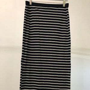 Casual navy and white striped maxi skirt